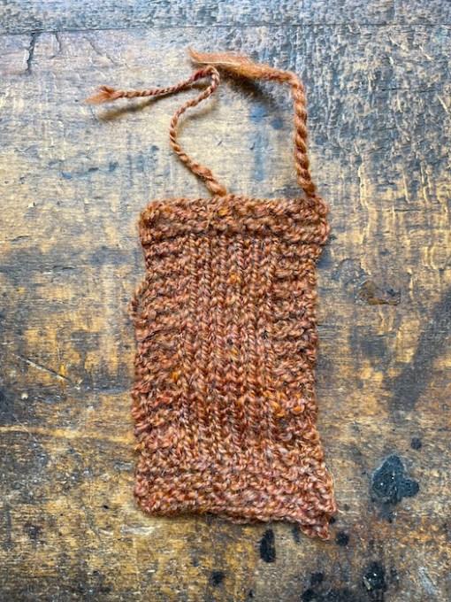 Craftmangler Hand Spun Spice knitted sample