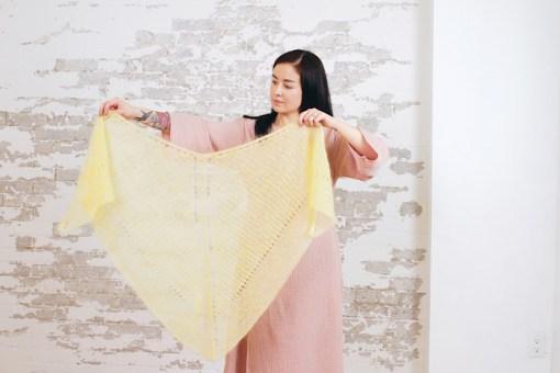 modeling shawl Moon and Turtle - Kiyomi & Sachiko Burgin
