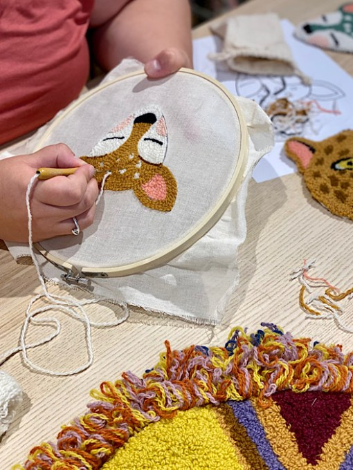 close up of Punch Needle Workshop with Zoownatas