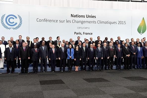 World leaders meet in Paris for the climate change conference in December 2015.