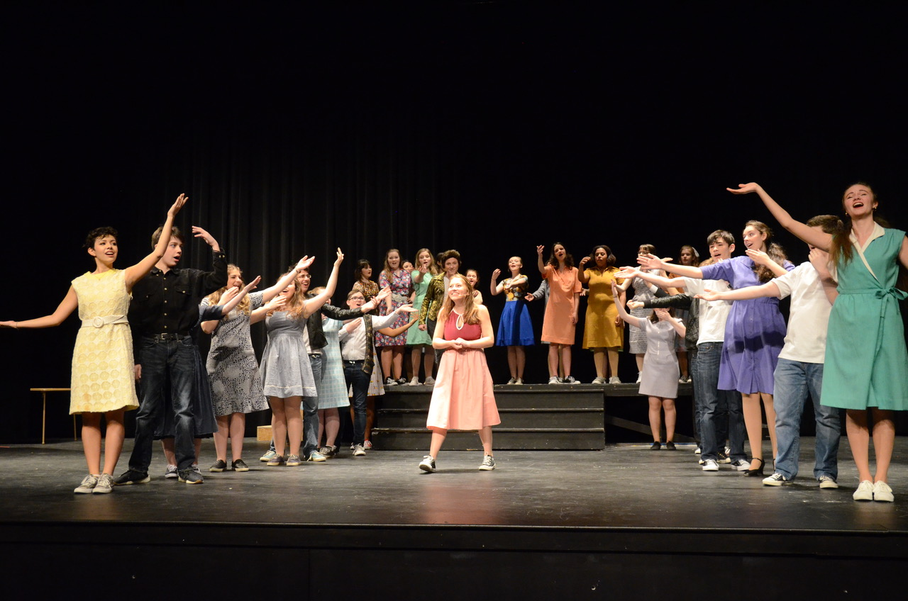 The cast of Bye Bye Birdie performs in the auditorium. Performance dates for the annual musical are February 1-3.