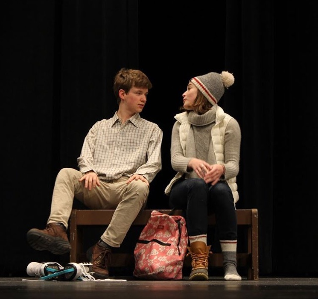 Seniors+Caleb+Dunham+and+Avery+Erskine+perform+a+scene+from+Almost%2C+Maine%2C+which+has+performances+April+26-28.