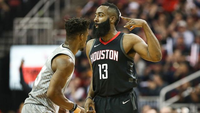 Apr+15%2C+2018%3B+Houston%2C+TX%2C+USA%3B+Houston+Rockets+guard+James+Harden+%2813%29+celebrates+after+scoring+as+Minnesota+Timberwolves+guard+Jimmy+Butler+%2823%29+loos+on++during+the+first+quarter+against+the+in+game+one+of+the+first+round+of+the+2018+NBA+Playoffs+at+Toyota+Center.+Mandatory+Credit%3A+Troy+Taormina-USA+TODAY+Sports