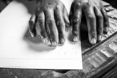 """Misaye is determined to learn Braille. """"The government needs to support disabled people more,"""" says the quiet girl with determination. """"When I have finished my education, I will become a civil servant and change that."""""""