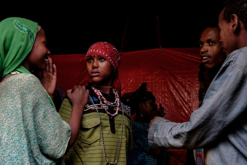 Girl preparing for wedding dance, Ethiopia