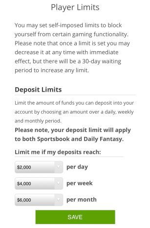draftkings sportsbook player limits