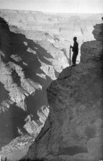 Trans-canyon phone line construction, 1935. Photo by Ed Laws. NPS
