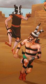 Kokopelli-mana (female) chases clown during Bean Dance by Ramond Naha