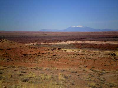 Peaks viewed from high desert Hopi lands more than 80 miles distant.
