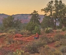 Sedona sunset, digeridoo player