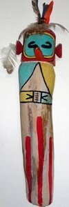 Hopi hummingbird kachina carving, Crossing Worlds Journeys