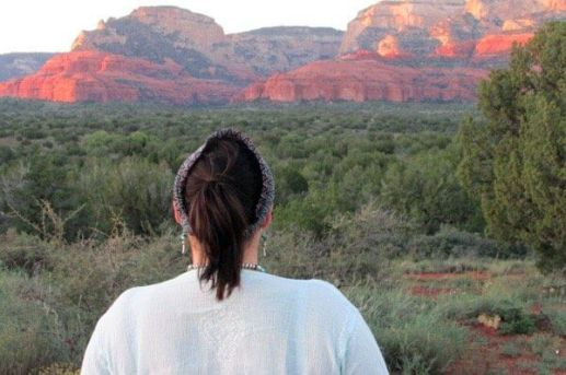 earth-spirit circle to connect with nature, sunset red cliffs