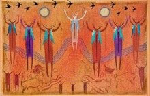 Ancestor spiritual beings with arms raised on on red rock background.