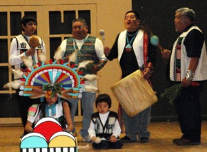 Yellow Fox Dancers at VVAC Fair doing Corn Grinding Song (photo by Sandra Cosentino)