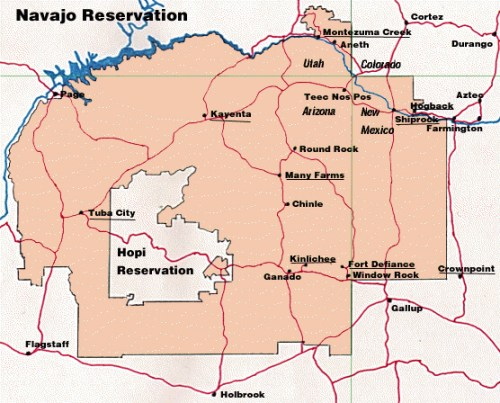 Map showing Hopi Reservation surrounded by Navajo lands in northeastern Arizona.
