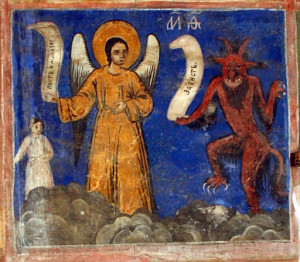 Prayer and Fasting doing battle with Envy in a Bulgarian fresco. By Edal Anton Lefterov (Own work) [CC BY-SA 3.0], via Wikimedia Commons.