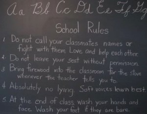 School Rules: Source http://www2.needham.k12.ma.us/eliot/technology/lessons/History_Needham/schoolhouse/photo/beach_06/beach_06.htm