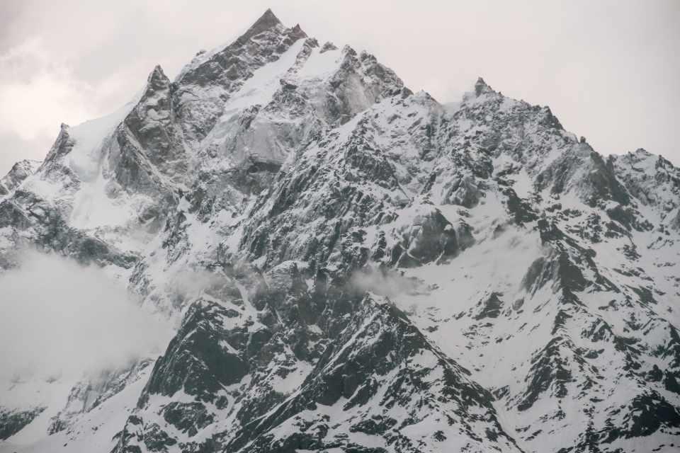 Kinnaur kailash Mountain range view from kalpa