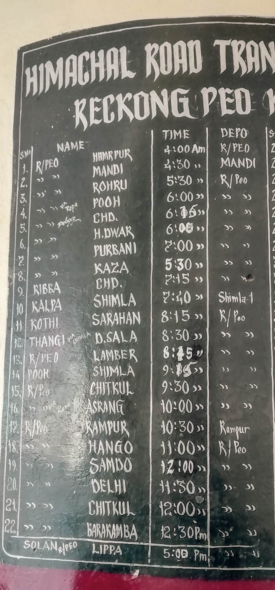 Reckong Peo buses chart at the bus stand
