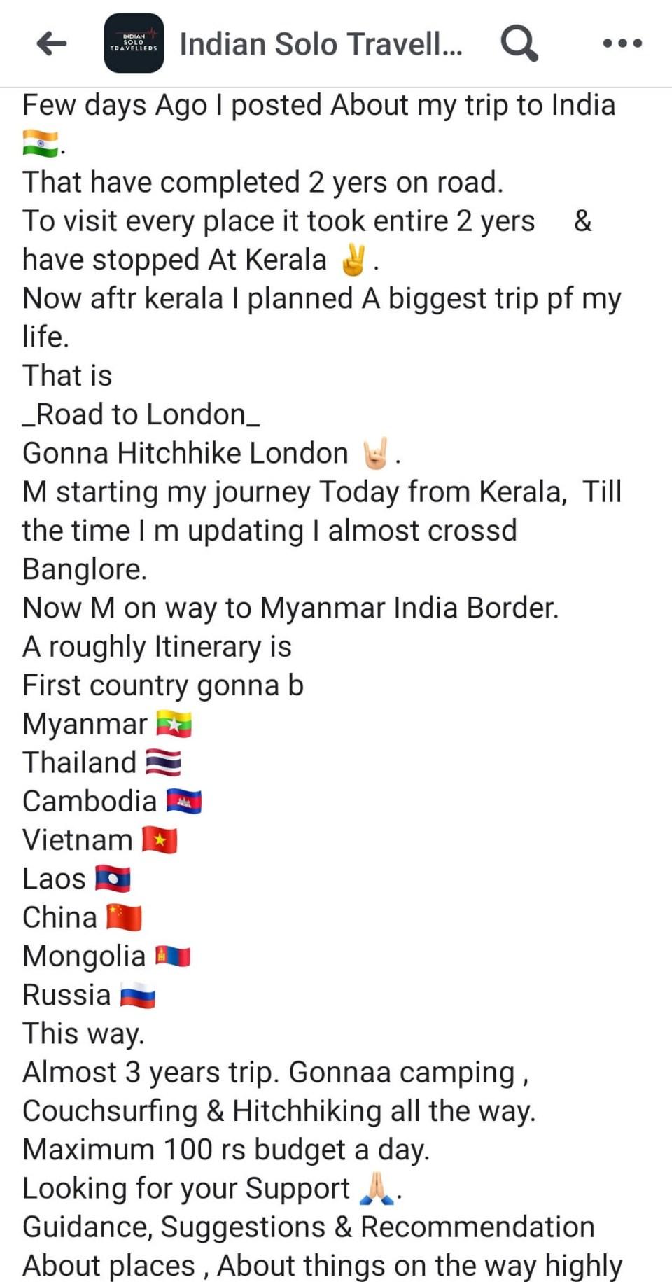 Hitchhike trip in India