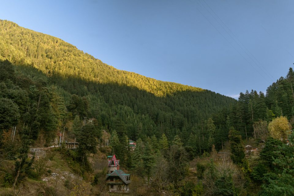 Wide angle Landscape of Jibhi Himachal, shot of the Valley