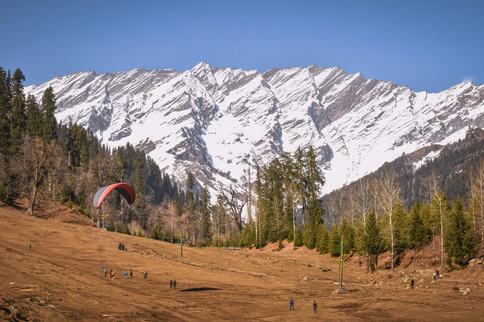Paragliding Activity taking place in the Solang Valley