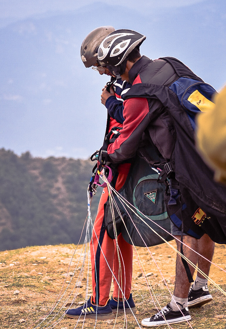 Checking Mandatory Protective Gears in Bir Paragliding