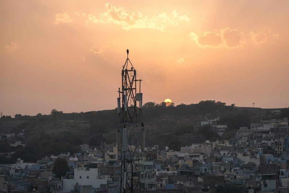 Sunset from Pachetiya Hills passing Jodhpur Blue City