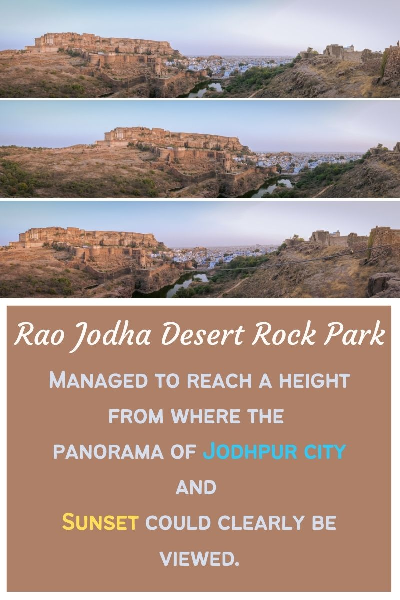 Panorama of the Jodhpur Blue City and Mehrangarh fort from Rao Jodha Desert Rock Park