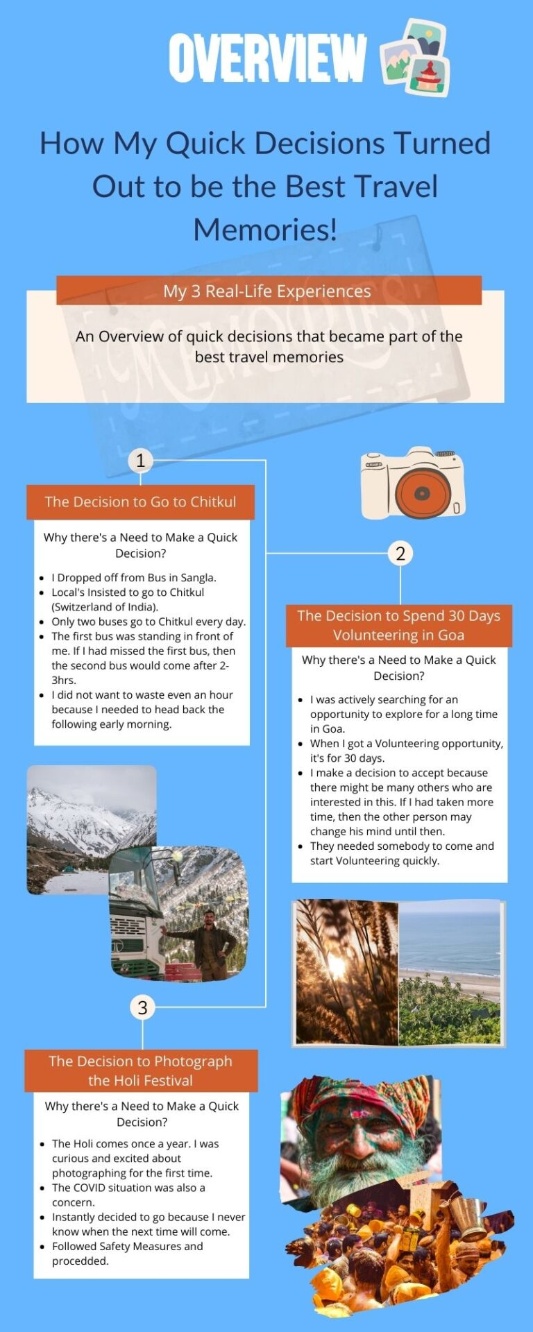 An overview using an Infographic of the Best Travel Memories