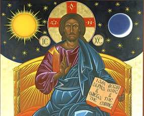 jesus christ enthroned icon mark dukes alpha omega sun moon stars  pantocrator - Crossroads Initiative