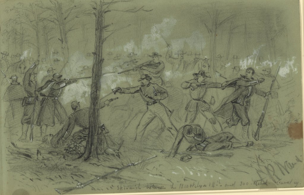 Image result for Waud, Skirmish between the Brooklyn and 300 Rebel Cavalry
