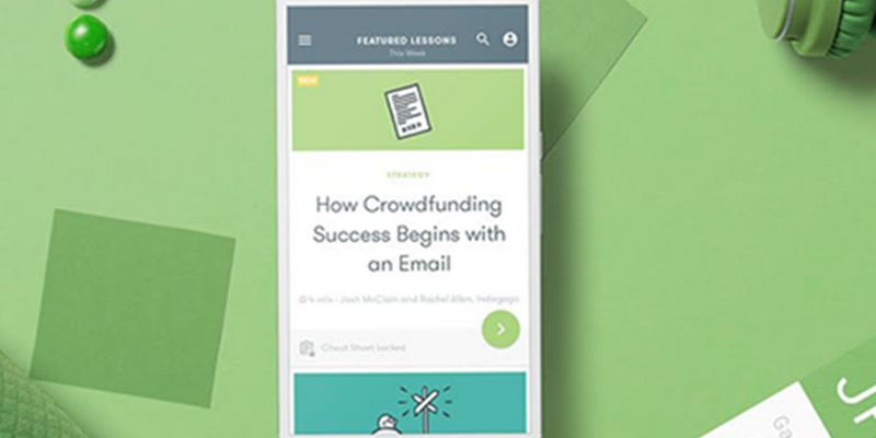 Lezione email marketing di Indiegogo su Google Primer app