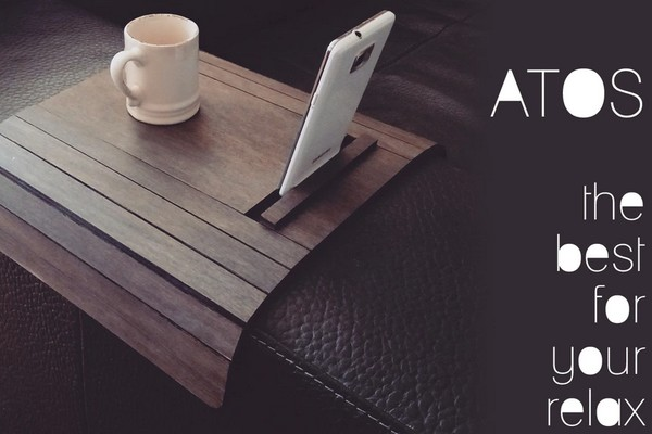 Sofa Arm Rest Table with Phone and Tablet Stand