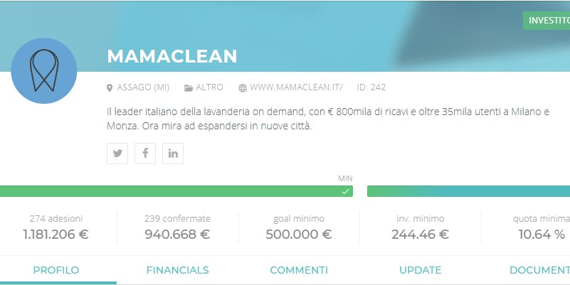 Mamaclean successo equity crowdfunding