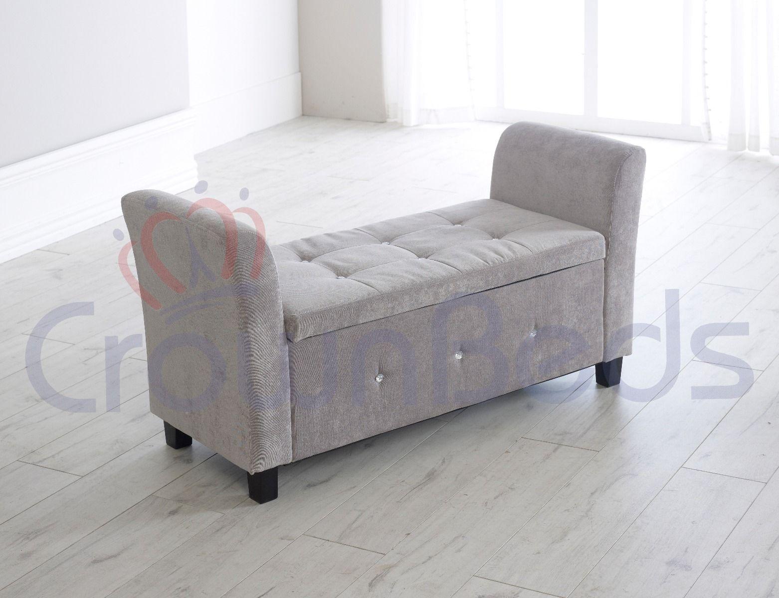 paris plush velvet ottoman storage box with resting arms silver