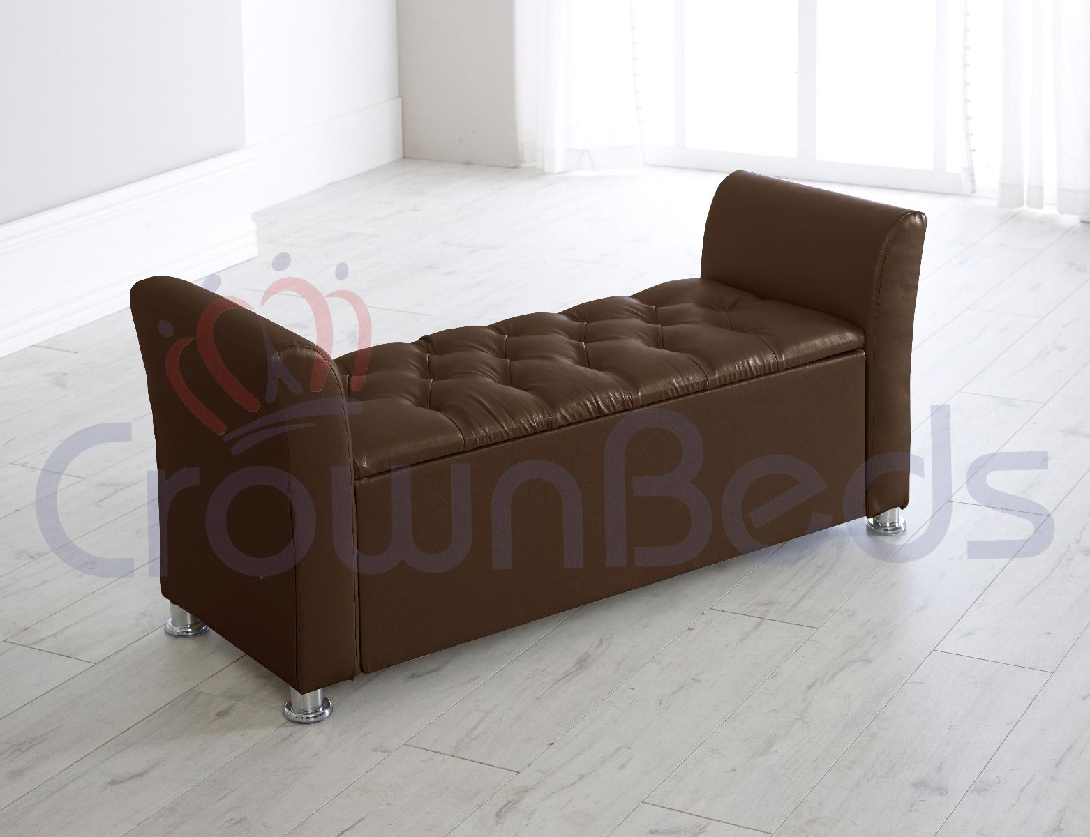 paris faux leather ottoman storage box with resting arms diamante brown