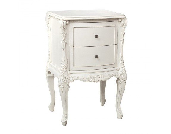provencale antique white french small 2 drawer bedside cabinet