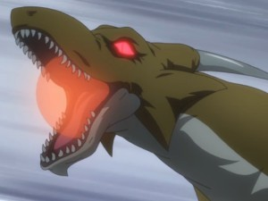 Dragons attack Ayato and Kirin on their morning run. Capture from the Crunchyroll stream.