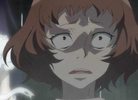 The crazed woman is dismayed that Mira was able to shatter the chains. Capture from the Funimation stream.