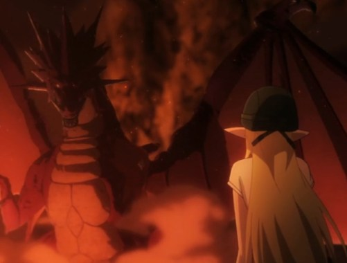 Tuka faces the dragon that killed her father. Capture from the Crunchyroll stream.