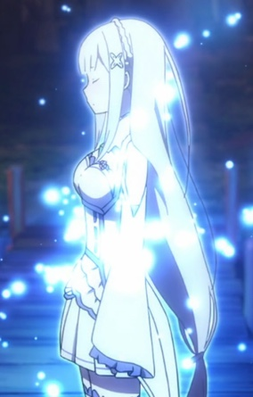 A small detail or a scene can capture my imagination. The half-elf speaking to the sub-spirits did that for me in Re;Zero. Capture from the Crunchyroll stream.