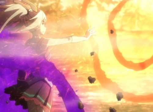 Orphelia's power is so great that she's able to brush off Julis' most powerful attack. Capture from the Crunchyroll stream.