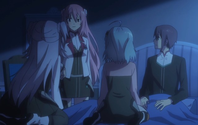 Shockingly, Julis wasn't mad that Saya and Kirin kept Ayato company as he was unconscious. She even praised their dedication! Capture from the Crunchyroll stream.