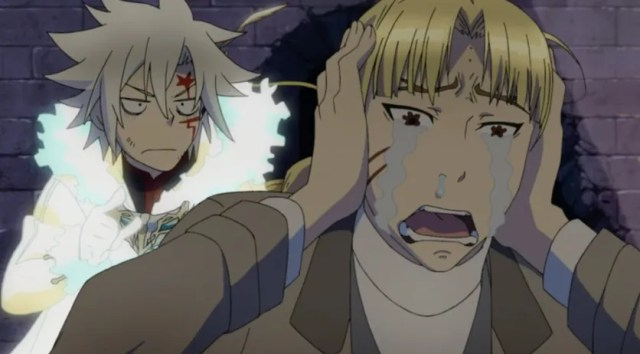 D.Gray-man HALLOW Episode 105: The thief didn't know that Allen's sword didn't harm humans, so he balled his eyes out. Loudly, too. Capture from the Funimation stream.