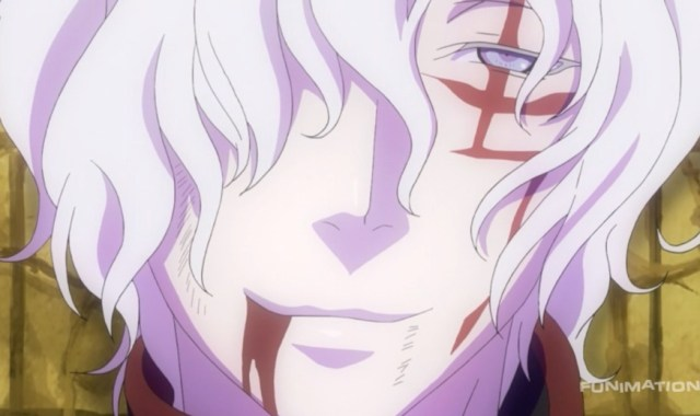 D.Gray-man HALLOW Episode 106: How Allen acts shocks the Akuma. Capture from the Funimation stream.