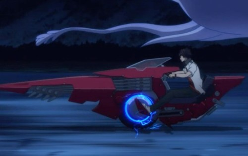 I never did quite figure out why this guy moped around and didn't join the battle with his squad. But his motorcycle is cool. Capture from the Funimation stream.