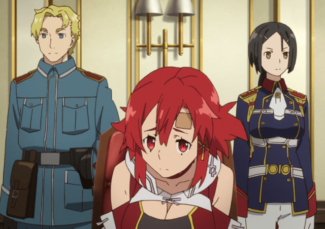 Izetta's chagrined that she has to tell them the secret of the ley lines. Capture from the Crunchyroll stream.