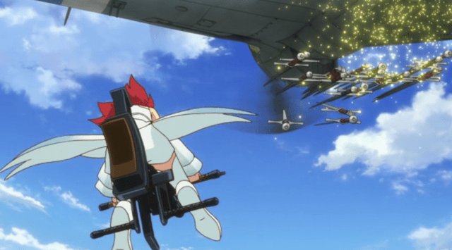 Using mid-air re-supply to keep Izetta fighting: it's super effective! Capture from the Crunchyroll stream.