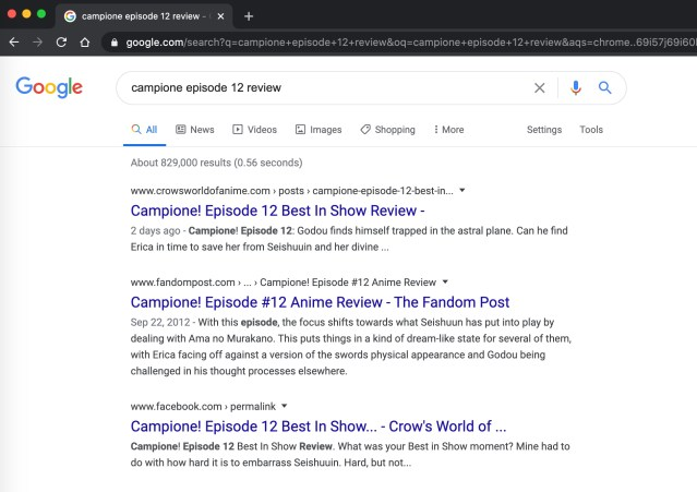 Four Easy Steps to SEO: My Campione! review for episode 12 ranked #1 in Google. I was happy!